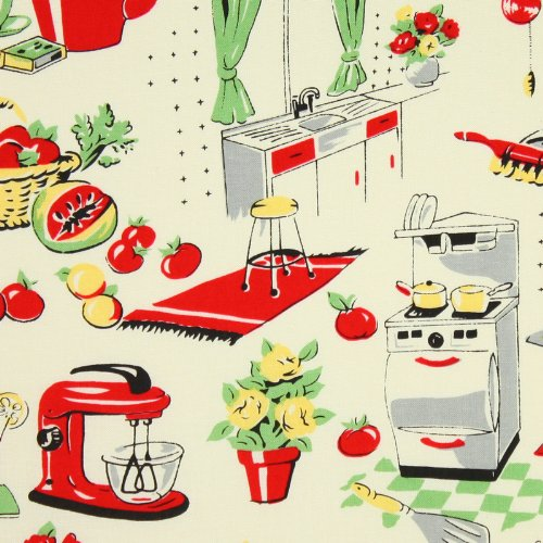 Michael Miller Fifties Kitchen Cream Fabric by the Yard