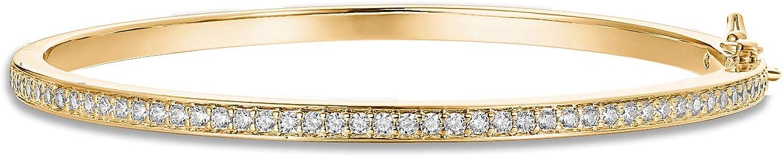 PAVOI 14K Gold Plated Cubic Zirconia Bangle Classic Tennis Bracelet | Gold Bracelets for Women