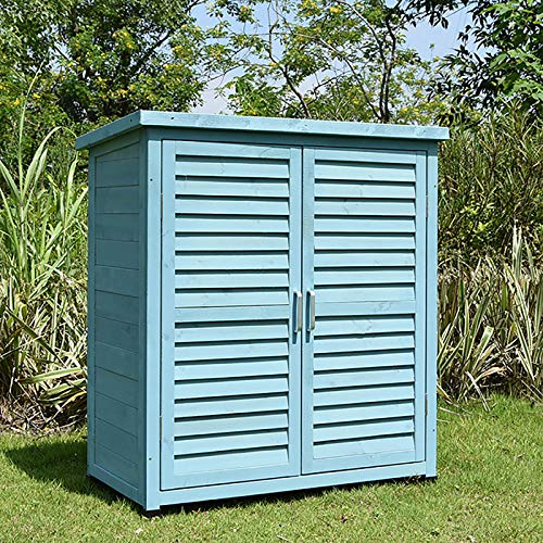 shmcc Outdoor Garden Storage Shed - Patios Tool Storage Cabinet Lockers for Tools, Lawn Care Equipment, Pool Supplies and Garden Accessories, Fir Wood