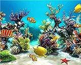 PKUOUFG DIY de Pinturas Pescado en el Fondo del mar Pintar por Numeros Adultos Niños DIY Pintura por Números con Pinceles y Pinturas 40 x 50 cm