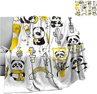 Cranekey Soft Blanket Microfiber Vector Files Animal Natural Panda Rainbow,Warm Blanket for Autumn Winter W90 x L60 Inch
