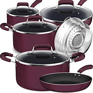Lightning Deal Pots and Pans Set, Tri-ply Nonstick Coating, Classic Induction Cookware Set, Cool Handles, Induction Bottom,Dishwasher Safe, PTFE and PFOA free, lavende, Easy Clean,Father's Day 10 Pcs