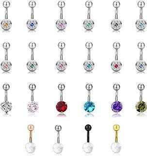PiercingJ Set di 22 piercing per ombelico, 1,6 mm, in acciaio inox, per ombelico, a forma di sfera, con strass, per donna,...