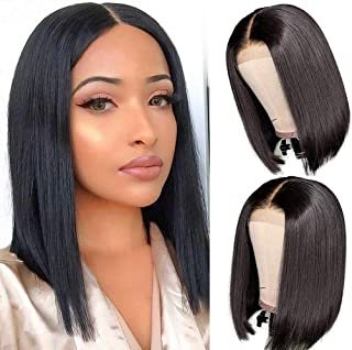 Short Bob Wigs Human Hair Lace Closure Wigs Brazilian Virgin Human Hair Straight Bob lace Front Wigs For Black Women Pre Plucked with Baby Hair Natural Black (14inch)