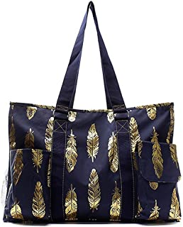 N. Gil All Purpose Organizer 18 Large Utility Tote Bag 3-2017 Spring New Pattern (Gold Feather Navy)