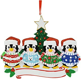 Personalized Ugly Sweater Family of 4 Christmas Tree Ornament 2019 - Cozy Penguin Snow Winter Holiday Tradition North Pole Mother Father Child Foster Friend Gift Year - Free Customization (Four)