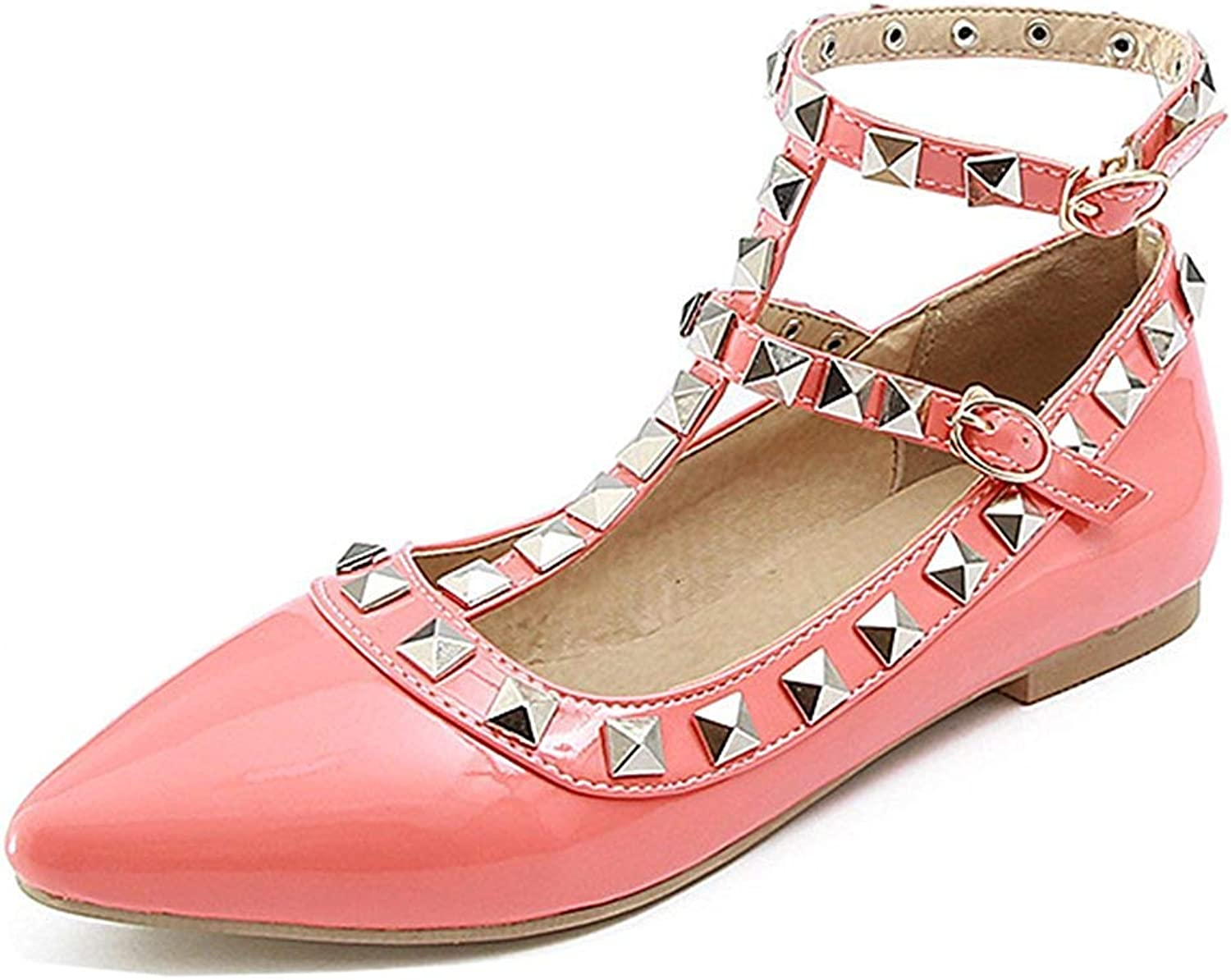 Unm Women's Pointed Toe Flats shoes with Studs - Buckled Ankle T Strap - Comfort Burnished