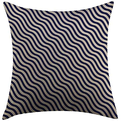 ASDEW987 - Federa copricuscino con motivo a righe blu navy, motivo a righe su sfondo blu scuro e bianco