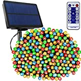 Tcamp 164Ft 500 LED Solar Christmas Lights Solar String Lights Outdoor Indoor with Remote Timer, 8 Modes Solar Powered Fairy Lights for Christmas Tree Garden Yard Patio Party Decor (Multi-Color)