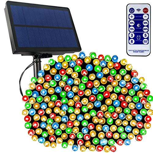 Tcamp 164Ft 500 LED Solar Christmas Lights, Waterproof Outdoor Indoor String Lights with Remote Timer, 8 Modes Solar Powered Fairy Lights for Christmas Tree Wedding Party Holiday Decor (Multi-Color)