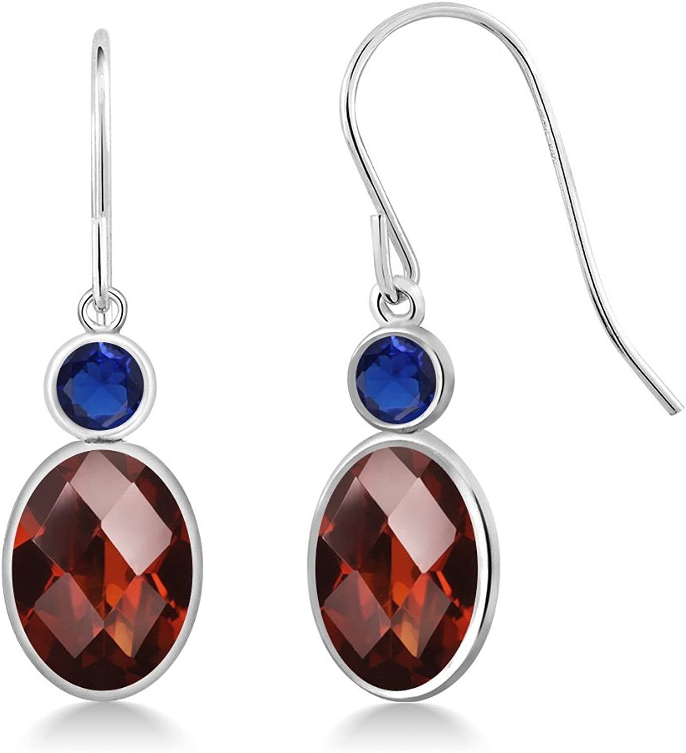 3.06 Ct Checkerboard Red Garnet bluee Simulated Sapphire 14K White gold Earrings