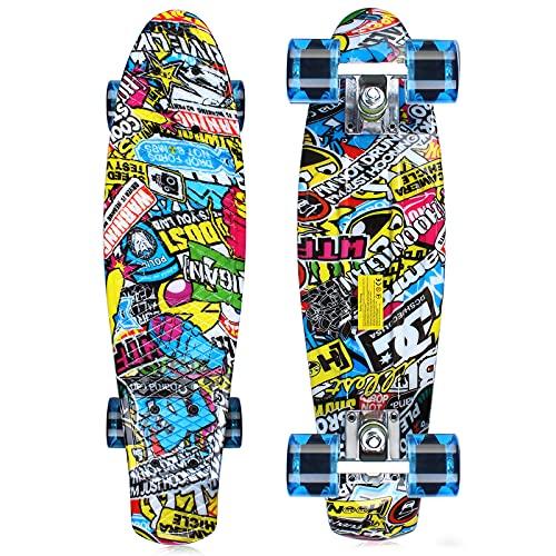 GORIFEI Skateboards for Kids Beginner Ages 6-12, 22 Inch Penny Boards for Girls Boys, Retro Graffiti Mini Cruiser Skateboards, Youths Skateboards, Toddler Skateboards for Girls Boys Kids