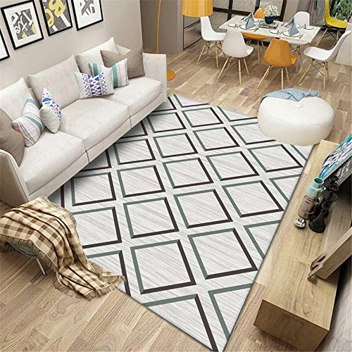 La Alfombra alfombras de pie de Cama Marrón Verde Gris geométrico rombo diseño Simple Sala de Estar Alfombra Decoracion Alfombra habitacion niña alfombras Lavables Salon 160*230cm