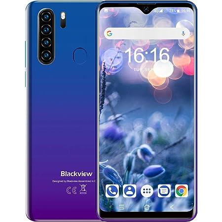 スマホ本体 Blackview A80Pro 4G simフリー スマートフォン本体 6.49インチ 1300万画素+800万画素カメラ 4680mAh 4GB RAM + 64GB ROM Android 9 端末 携帯電話 技適認証済み 1年間保証付き(ブルー)