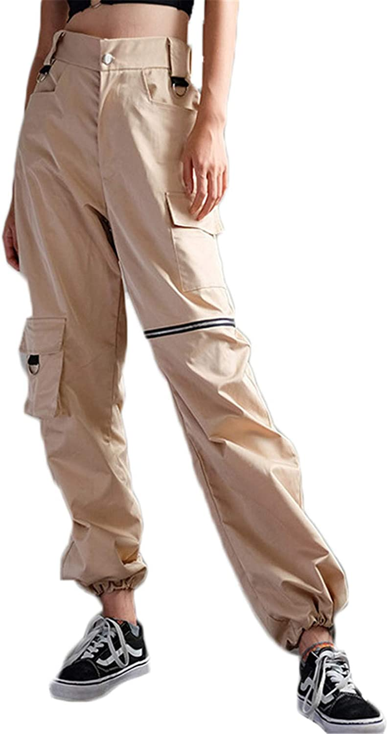 Andongnywell Women's Solid Color Casual Baggy Hip Hop Pants Stylish Loose Sport Harem Cargo Pants Trousers