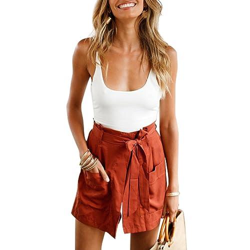 fa5cf097650 BELONGSCI Women Summer 2 Pieces Outfits Suit Spaghetti Strap Crop Top +  Shorts Set with Belt
