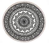 Style Meister® Runder Teppich 120 cm. Teppich rund mit Fransen rutschfest, handgewebt und pflegeleicht - Böhmisches Mandala Muster Baumwollteppich