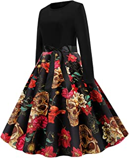 Women Long Sleeve Dress Vintage Halloween 50s Evening Party Prom Dress Fashion Casual Retro Ladies Dresses