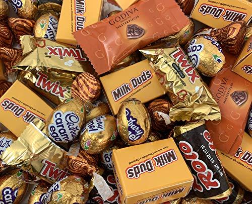 Hershey's Gold Candy Assortment - Godiva, Cadbury Caramel Eggs, Milk Duds, Twix, Kisses Caramel and Rolo (3 Pound Bag)