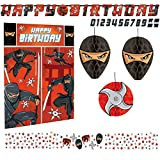 Libetui Set Deko Geburtstag Ninja Kindergeburtstag Dekoration Set Happy Birthday Deko Partykette...