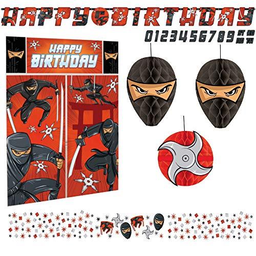 Libetui Set Deko Geburtstag Ninja Kindergeburtstag Dekoration Set Happy Birthday Deko Partykette Konfetti, für Kinder und Erwachsene