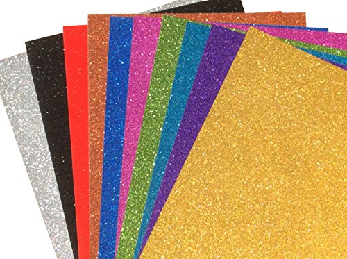 Premium 20 Sheets Glitter Board Sparkling Assorted Colors Cardstock Reflective, Shiny Poster Board 8.5 x 11 inches 250GSM Use for Scrapbooking Paper Cutting Bending Or Shaping (Mixed Colors)