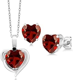 3.07CT Ruby Heart Shape Gemstone Pendant /& Necklace 14K White Gold