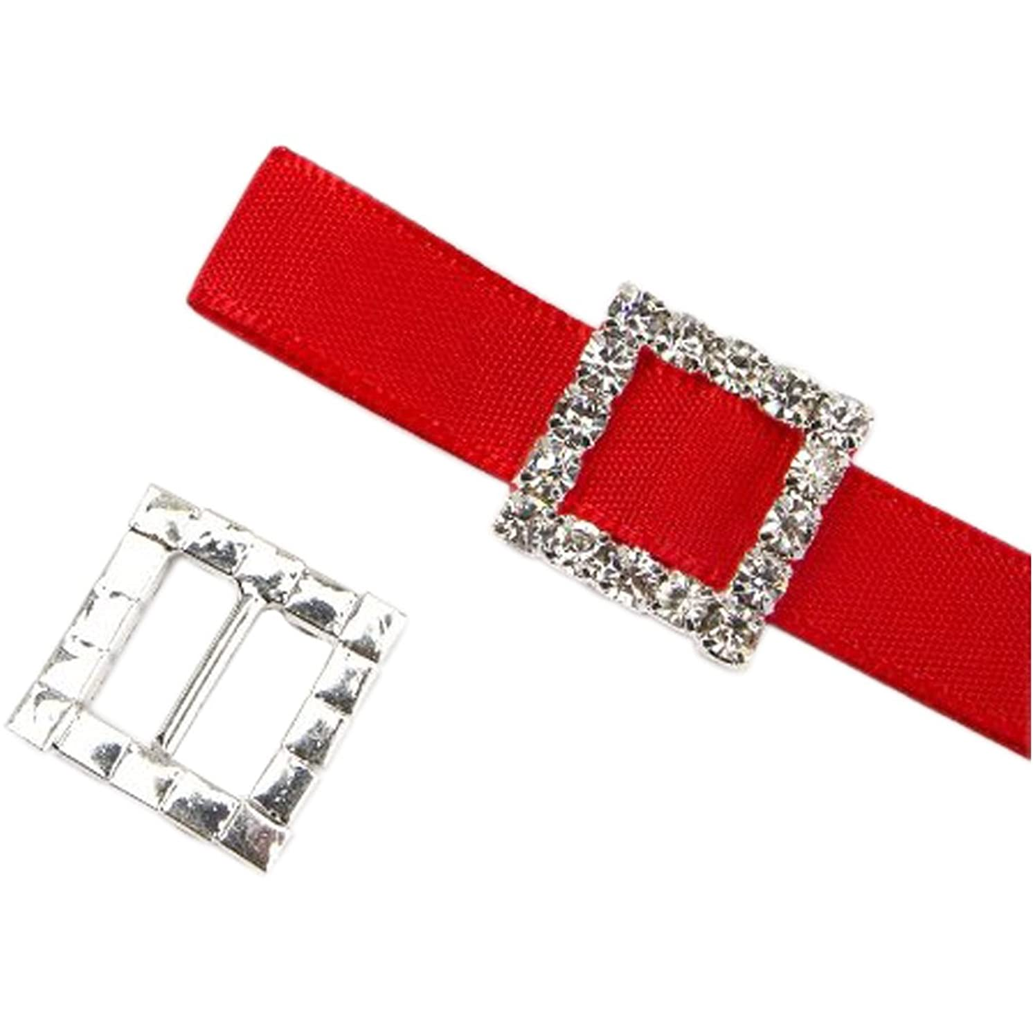 35pcs Square Rhinestone Buckle Invitation Ribbon Slider for Ribbons Wedding Supply Gift Wrap Hairbow Center (1515mm)