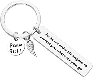 Bible Verse Keychain Christian Gift Religious Jewelry For He Will Order His Angels To Protect You Wherever You Go Faith Ke...