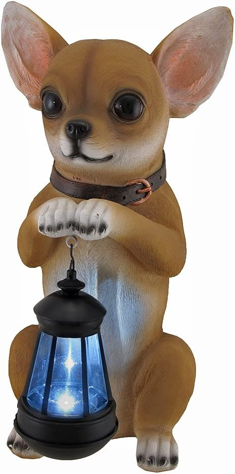 25% OFF This Little Light Popular brand in the world Chihuahua Statue Lantern Solar and LED