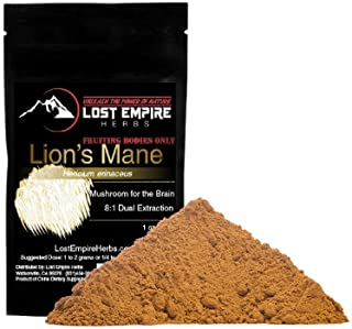 LostEmpireHerbs 100% Pure Lion's Mane Mushroom Powder (30g) || Dual Extract = 8X More Potent + Organically Grown on Wood (Very Important) || Potent Nootropic Helps Enhance Mood & Stimulate The Brain