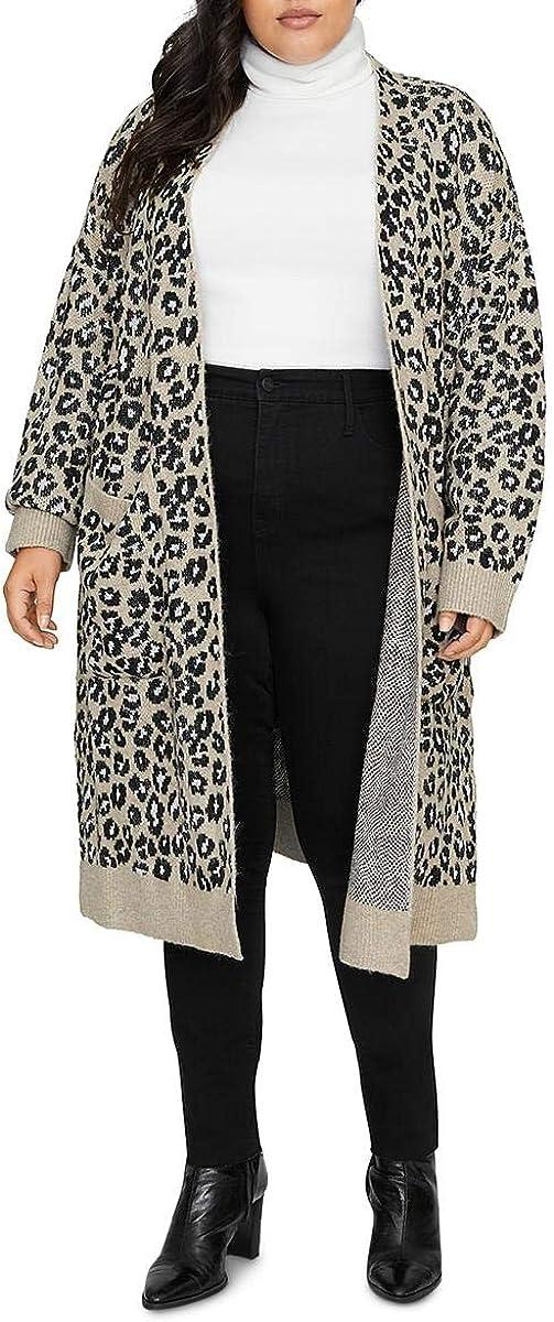 Sanctuary Womens Curve Leopard Print Open Cardigan Size 2X