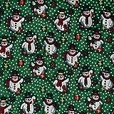 Fabric Freedom Stoff mit grünem Schneemänner im