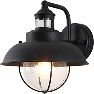Porch Outside Light Fitting Black Plastic Round Shape Clear Class Pre-Used