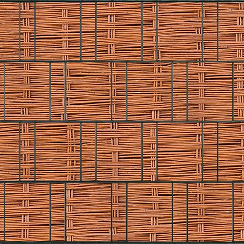 Bedruckter Sichtschutzstreifen für Doppelstabmatten Zaun auf Rolle inkl. 25 Klemmschienen (Weidengeflecht)