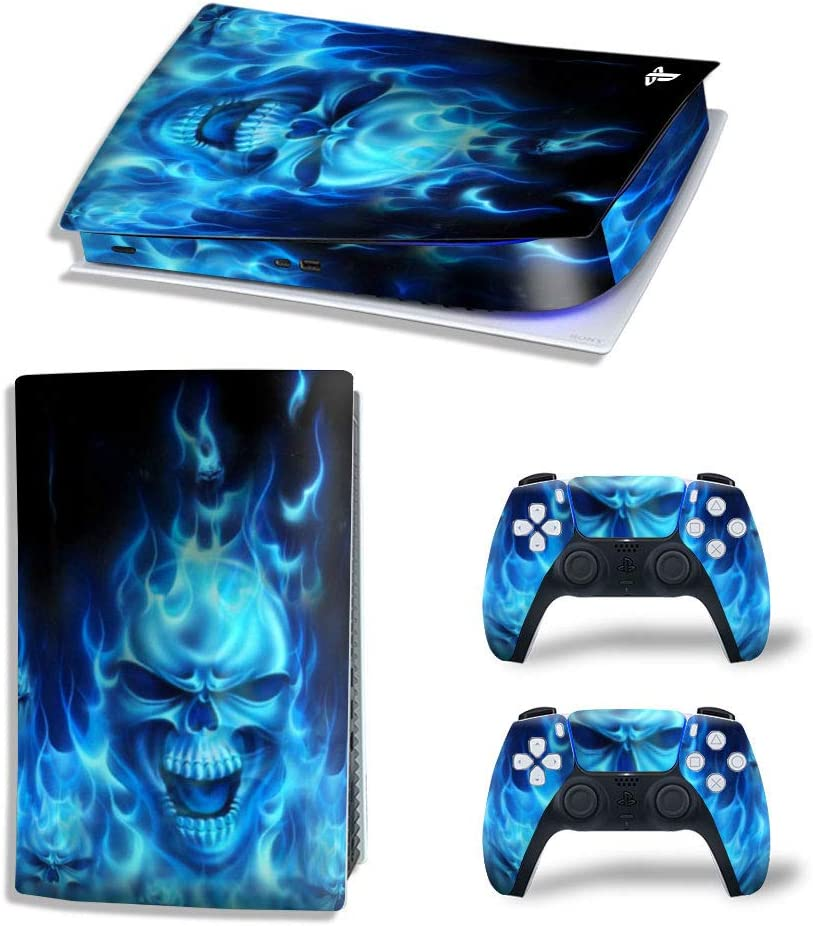 PS5 Skin Stickers Decal Full Body Vinyl Cover for Playstation 5 Console and Controllers (Digital Edition, Blue Grimace)