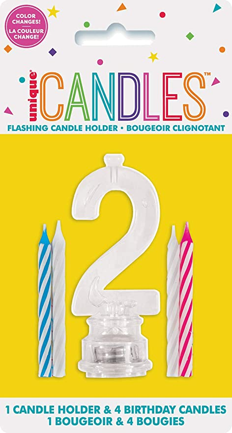Multicolor Flashing Number 2 Cake Topper & Birthday Candle Set, 5pc