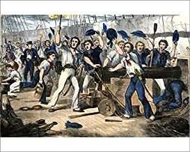 Media Storehouse 10x8 Print of Crew of The USS Constitution in Battle, War of 1812 (5882502)