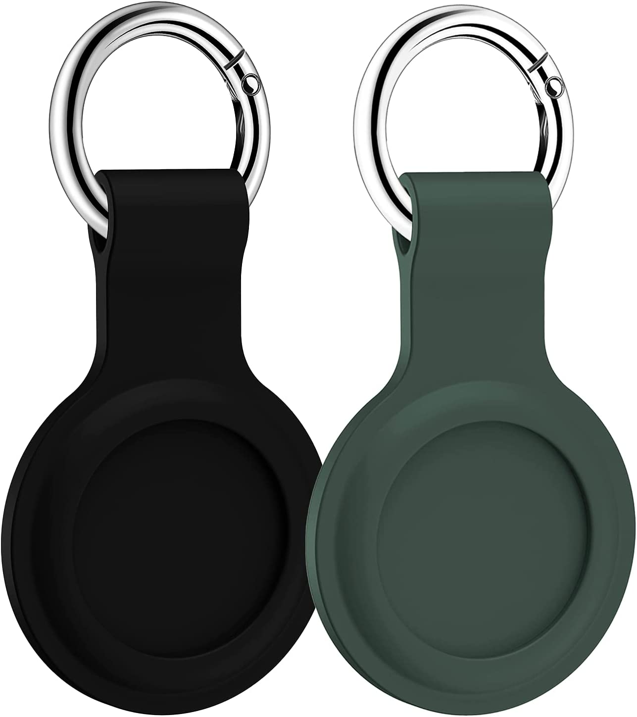 LowGeeker Case for AirTag, 2 Pack Silicone Protective Cover for Apple AirTag Keychain Holder Accessories Tracker Finder Soft, Black/Green