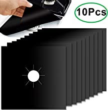 10 Pack Stove Burner Covers, Non-Stick Gas Stove Burner Liners,Gas Range Protectors, Stovetop Covers for Gas Burners Double Thickness 0.2mm Reusable & Dishwasher Safe(Black)
