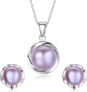 Stunning Flawless Pearl Stud Earrings & Silver Chain Pendant Set| Impeccable Quality Natural, Flawless Freshwater Pearl & 925 Sterling Silver| The Most Unique Fashion Jewelry Set (3 | Purple Pearls)