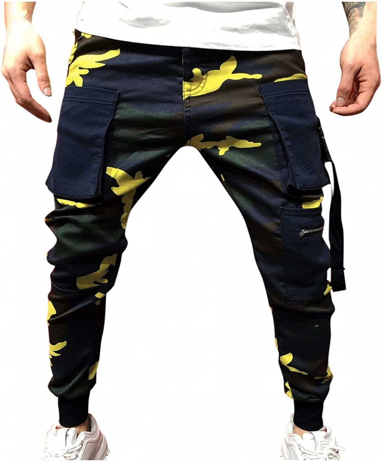 Beshion Sweatpants for Men Slim Fit Jogger Cargo Pants Mid-Waist Drawstring Casual Athletic Running Trousers with Pocket