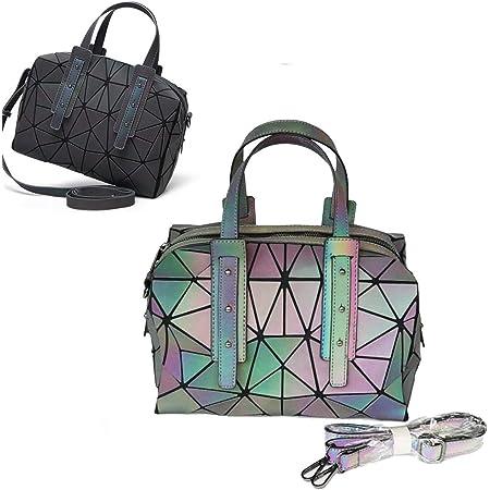 LIUNIAN Frauen leuchtende Handtasche Boston-Tasche Nachtglühen Geometrische Dreieck faltbare große Kapazität Umhängetasche Matte bunte Mode Umhängetasche für Frauen