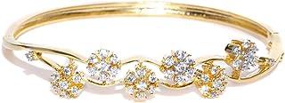Zaveri Pearls CZ Stone-Studded Floral Openable Bracelet For Women - ZPFK4800