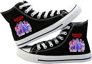 Strangerr Things Shoes Unisex Canvas Shoes Low-Top Sneakers/Hi-Top Trainers Boots Scoops Ahoy Black Casual Shoes