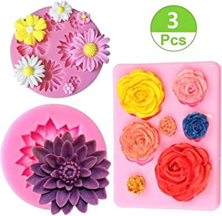 Mity Rain Flower Cake Fondant Molds,3 Pack Mini Flower Silicone Molds for Cake Decorating,Roses Flower Mold Daisy Flower Molds and Lotus Flower Molds