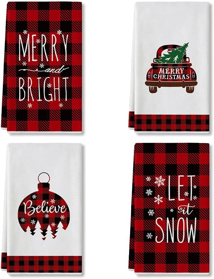 Artoid Mode Red and Black Buffalo Plaid Christmas Ornament Car Tree Kitchen Towels and Dish Towels, 18 x 28 Inch Winter Holiday Ultra Absorbent Drying Cloth Tea Towels for Cooking Baking Set of 4