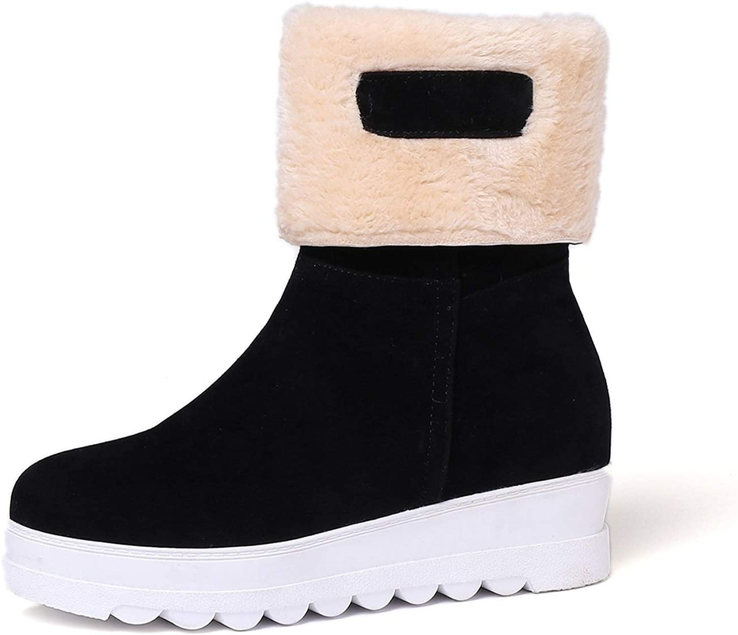 Women's Booties, Flat Increase Within Academy Martin Boots Ladies Fall Winter Scrub Middle Tube Fashion Snow Boots (color   A, Size   38)