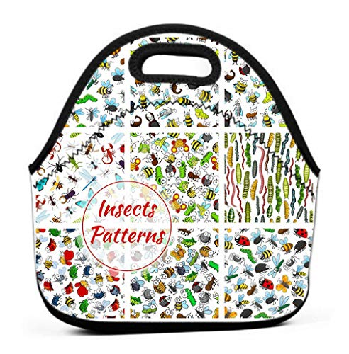 Leakproof Insulated Reusable Lunch Bag - Durable Compact Office Work School Lunch Box cartoon insects bugs patterns set smiling bee worm beetle bumblebee hornet butterfly fly chafer grasshopper