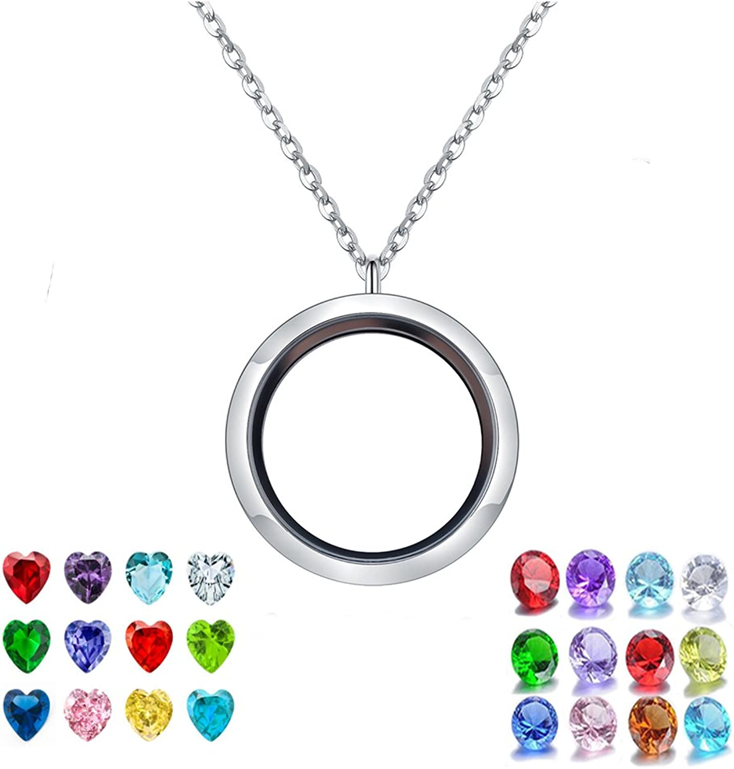 PORPI-JOJO Floating Lockets Necklaces Living Memory Locket 30mm Stainless Steel Heart&Round 24 CZ Birthstone